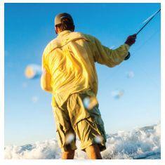 fisherman wearing shorts and long-sleeve parka